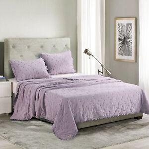 Kasentex Ultra Soft Stone-Washed Quilt Set 100% Cotton. Lavender, Winter