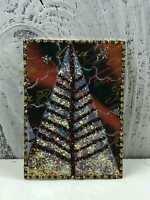 "ACEO Artist Trading Card ""Glitter Christmas Tree"" Artist Hand Made Glitter"