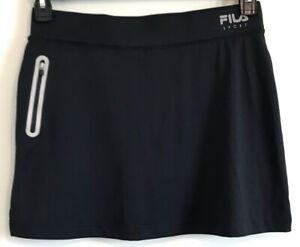 FILA Golf Skort Women Sz M Black Elastic Waist Zip Front Pocket