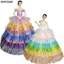"2pcs/lot Rainbow Fashion Doll Dress For 11.5"" Doll Outfits Gown Wedding Clothes"