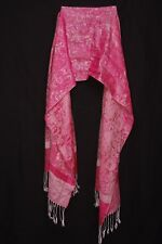 Magenta & White Paisley Print Blush Tassels Sophisticated Soft Touch Scarf S179