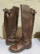 Guess Calf High Brown Leather Boots Ladies UK 7.5
