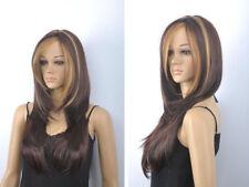 Fashion Long Straight Dark Brown Mix Golden Blonde Women Hair Wig Full Wigs +Cap