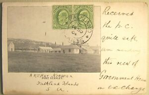 1905, Falkland Islands, Port Stanley, view of Gov't House, Edward VII stamps