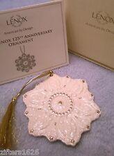 Lenox Ornament 125th Anniversary Snowflake Gold Trim Nib Coa