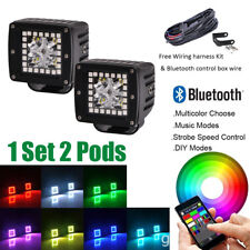 "2x 3"" Led Work Light Bar Pod Cubes w/ RGB Halo Ring + Wiring Kit Bluetooth Contr"