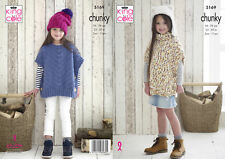 King Cole Chunky Knitting Pattern Girls Cowl or Round Neck Poncho Cable Hat 5169