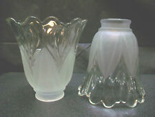 CLEAR & FROSTED SCALLOPED GLASS GLOBE SHADE CEILING FAN LAMP REPLACEMENT LIGHTNG