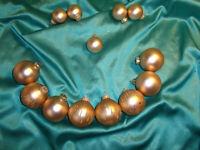Konvolut 13 alte Christbaumkugeln Glas gold matt Glitzer Tropfen Weihnachtskugel