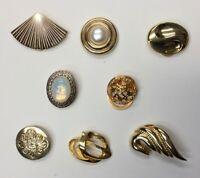 LOT OF 8 GOLD TONE METAL SHOE / SCARF CLIPS DRESS CIRCLE FAN SWIRL