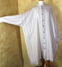 Eskandar Striped Sand Beige Soft Oversized Linen Very Long Tunic Top Dress Sz 1