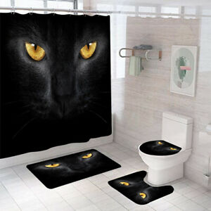 Panther Bathroom Rug Set Shower Curtain Thick Non Slip Toilet Lid Cover Bath Mat