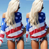 Women American Flag Print Casual Holiday Long Sleeve Tops Blouse Loose T-Shirt