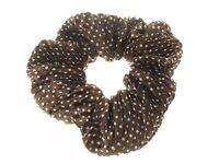Brown Crinkle Dot Spot Fabric Scrunchie Hair Bobble Hair Elastic Band