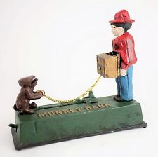 "VINTAGE Cast Iron Mechanical Monkey Bank ""Organ Grinder"" Piggy Bank - WORKS"