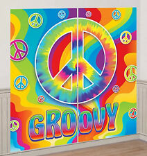 GROOVY TIE DYE Scene Setter party wall decor kit 6' PEACE SIGNS rainbow birthday