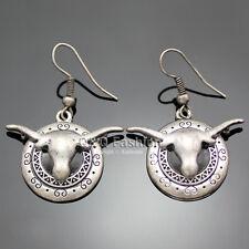 Texas Retro Silver Longhorn Steer Buffalo Bull Etched Scroll Cowgirl Earrings W8