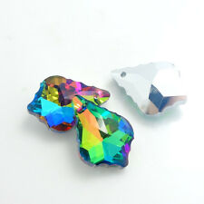 5pcs crystal elements baroque pendant glass Leaf-like loose Bead 22x15mm DCS20