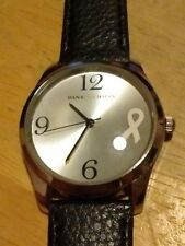 Vintage Dana Buchman Pink Cancer Ribbon watch, running w/new battery/leather M