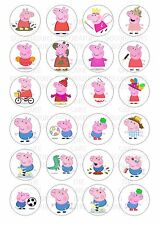 24 Peppa Pig George Wafer / Rice Paper Cupcake Topper Edible Fairy Cake Toppers