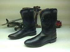 LUCCHESE BLACK LEATHER ROPER BOOTS SIZE 9.5-10 EE