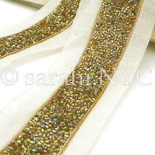 Olive Iridescent Beaded Fabric Trim trimming,Embellishment,co stume,pageant,Art