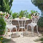 Garden Bistro Set 3pcs Garden Furniture Set Aluminum Dining Chairs & Table White