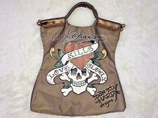 ED HARDY Womens LOVE KILLS SLOWLY Cross and Bones Gold Tattoo Large Tote Bag