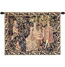 """MEDIEVAL TAPESTRY NOBLE LADY PLAYING ORGAN DAME ORGUE 35""""x45"""""""