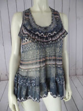 SOLITAIRE Top M Pullover Sheer Poly Tank Beads Ruffle Tiers Floral Abstract BOHO
