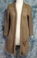 Angel of the North Anthropologie Womens sz M Brown Draped Tunic Cardigan Sweater