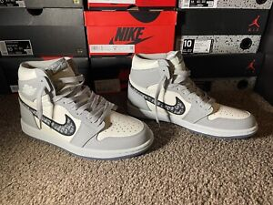 Nike Air Jordan High-Top Diors Grey and White Trainers Size U.K. 9