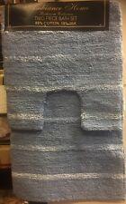 Aqua Blue Stripes Cotton / Silk Luxury Pile 2 Piece Bath Sets Mat & Pedestal