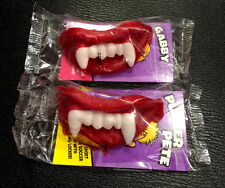2 x Wax Fangs Vampire Teeth Cherry Flavour Chew Candy for Halloween