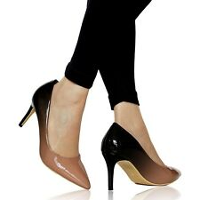 Women Ladies Party Evening Two Tone Patent Low Mid Heel Court Shoes Size - 6621