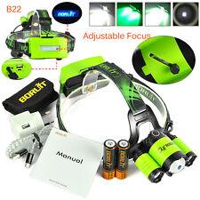 BORUiT B22 (RJ-5000 plus) XM-L2+2XXPE Green LED Headlamp Headlight Torch+2x18650