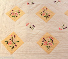 """Wamsutta Full White & Yellow Floral Embroidered Quilted Coverlet Quilt 69"""" X 88"""""""
