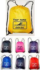 Personalised Swimming Drawstring Bag Sack School SWIM BAG Waterproof Printed