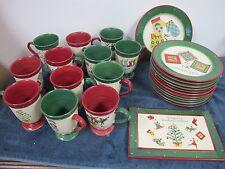 GIBSON 12 DAYS  WOODLAND CHRISTMAS DINNERWARE PLATES PEDESTAL MUGS TRAY 25 PCS