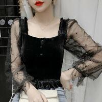 Women Velvet Blouse Tops Splicing Puffy Tulle Sleeve Ruffle Square Collar Autumn