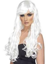 Long White Wavy Wig, Desire Wig, White, Long, Curly with Fringe #AU
