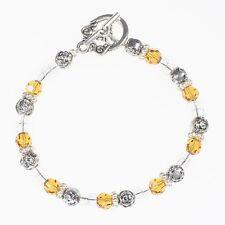Beaded Topaz Crystal Silver Bracelet- Handmade November Birthstone Bracelet