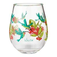 Enesco Lolita Stemless Wine Glass Hummingbird, Set of 2