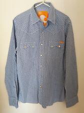 Men's Soulcal Light Blue Check Shirt Size Small California Apparel Snap Buttons