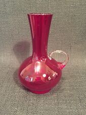 Vintage Ruby Red Glass Vase / Bottle With Handle