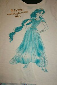 New Disney Girls XL 14 16 Year Jasmine Aladdin Top Shirt Peacock Print Back