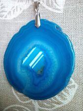 Beautiful Druzy Agate Slice Pendant with Chain. Free P&P //o7.