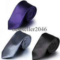 Casual Skinny Classic Solid Plain Pure Colors Men's Tie Party Wedding Necktie