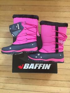 Girls Pink Baffin Snow Boots Size 6 Brand New