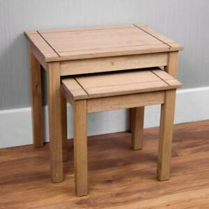 PANAMA SOLID PINE WAXED NEST OF TWO 2 TABLES SIDE COFFEE LAMP UNIT | NEW